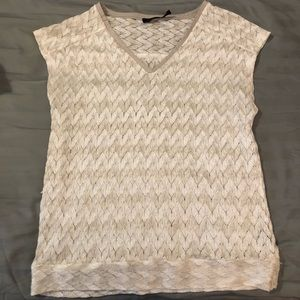 The Limited White and Tan Chevron Top Size Medium